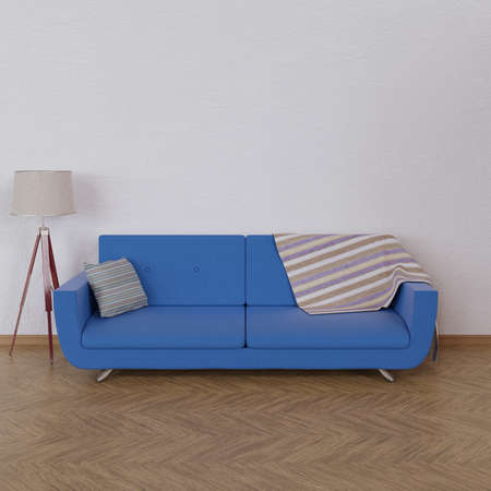 Interior with sofa in room with parquet and relief white wall. 3d render. Imagens