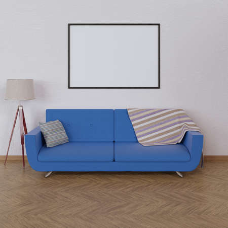 Mock up poster in interior with sofa. 3d render.