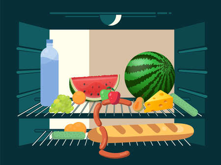 Refrigerator filled with food, view from inside. Vector illustration.