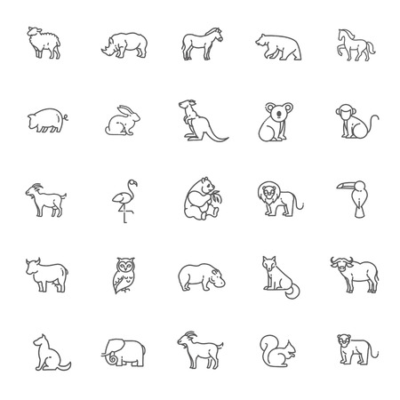 Ikony zwierząt. Zarys zestaw ikon wektorowych Ilustracje wektorowe