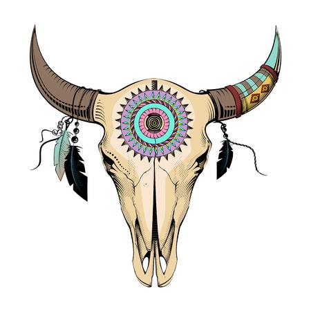 cherokee: Ethnic style, engraving illustration bull skull