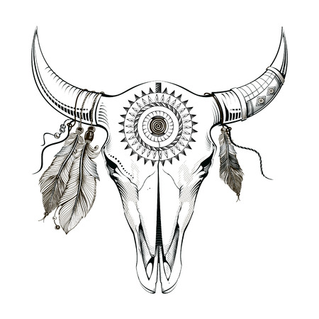 Ethnic style, engraving illustration bull skull