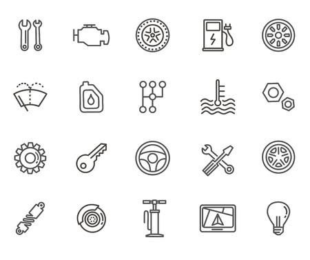 Autoteile Linie Symbole gesetzt. Auto Service-Reparatur-Symbol Vektorgrafik