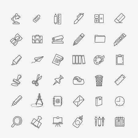 adress: Drawing and Writing tools icon set, thin line style, flat design Illustration