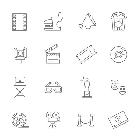 movie production: Entertainment icons, movie production icons Illustration
