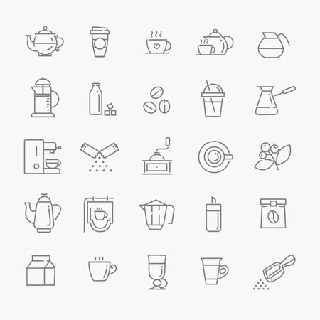 Coffee line icon set Stock Illustratie