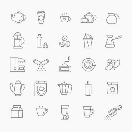 Coffee line icon set 向量圖像