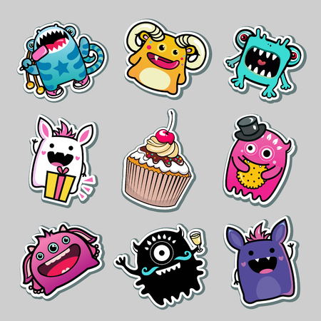 fairycake: vector stickers monsters and food for kids