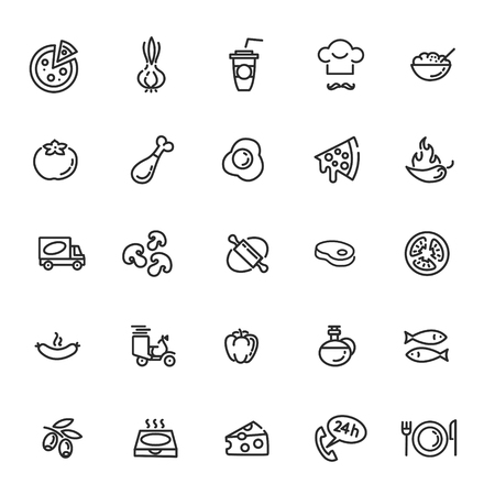 Italian traditional pizza vector outline icons set Illustration
