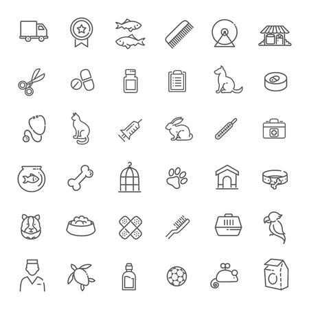 Zarys zestaw ikon wektorowych www - pet, weterynarz, sklep zoologiczny, rodzaje zwierząt domowych