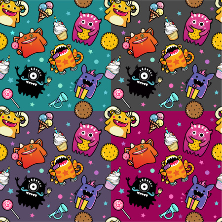 background card: vector seamless pattern with monster and sweet food