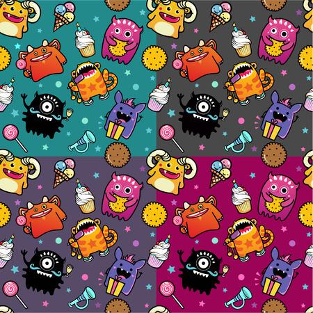 caras felices: vector sin patr�n con el monstruo y alimentos dulces Vectores