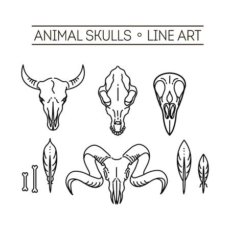 crow: vector icon skull animals heads Illustration