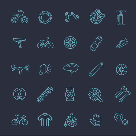 vector outline Bicycle icons set