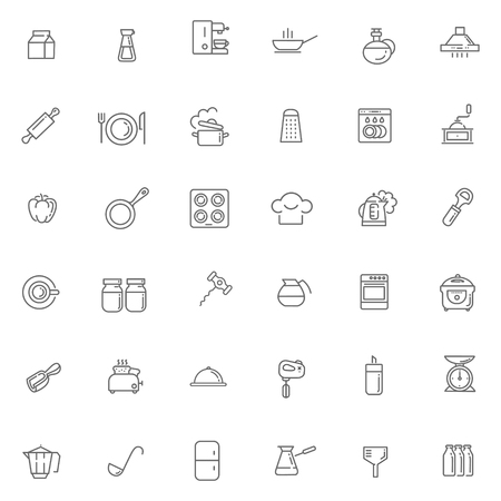 cooking utensils: line icon collection - cooking, kitchen tools and utensils