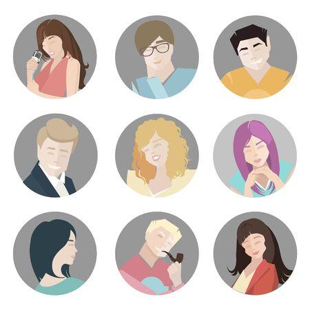 capelli biondi: icone vettoriali persone. Le persone piatto di raccolta Icone