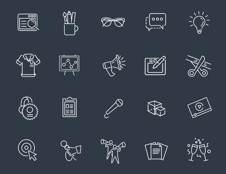 smm: Thin outline icons set. Icons for business and digital marketing