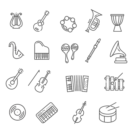 djembe: music instruments. Vector line icons