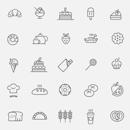 sweetness: Bakery icons set - sweet food Illustration