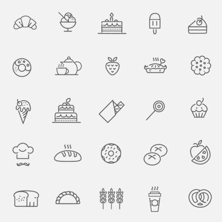 foodstuffs: Bakery icons set - sweet food Illustration