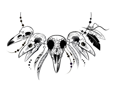 Raven Sugar Mexican Skull. Raven Skull. Vector illustration