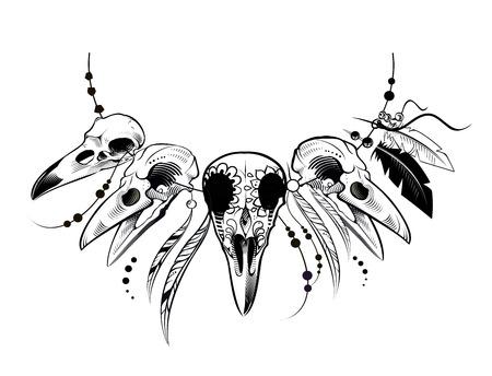 corvo imperiale: Raven Zucchero messicana Skull. Raven Skull. illustrazione di vettore Vettoriali