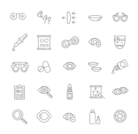 diopter: optometry vision correction eyes health line icons set Illustration