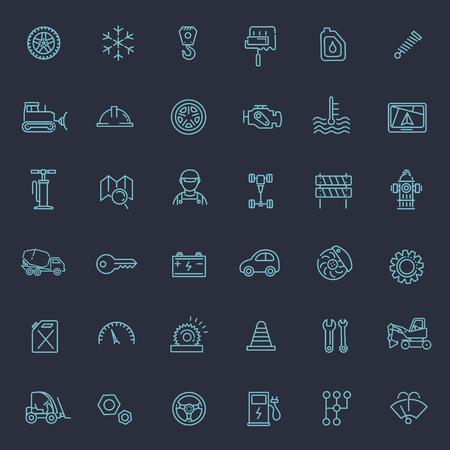 auto service: Car parts line icons set. Auto service repair symbol