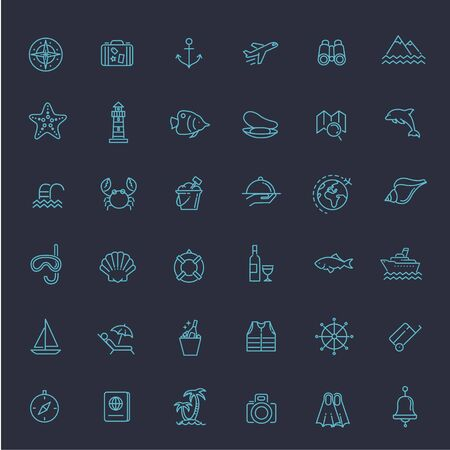 thin shell: vector outline web icon set - journey, vacation, cruise