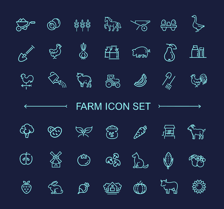 farm animals: Farm vector line icon set