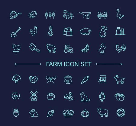 animales granja: Granja de vectores icono de línea de set