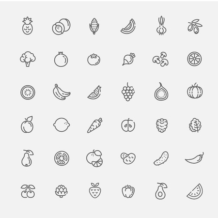 Fruit and Vegetables line icon set