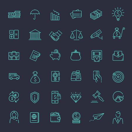 Outline vector web icon set - money, finance, payments Stock fotó - 55445133