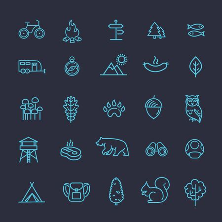 outdoor activities: Camping, Forest, Nature and Outdoor Activities icons Illustration