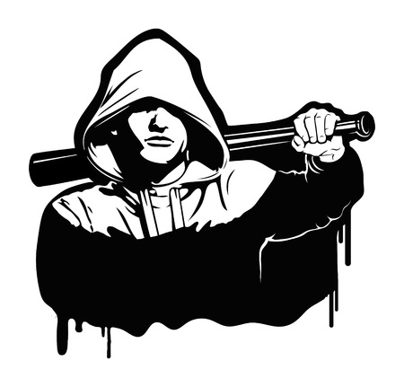 Bandit en hooligan - criminele nachtleven. Vector illustratie op wit wordt geïsoleerd