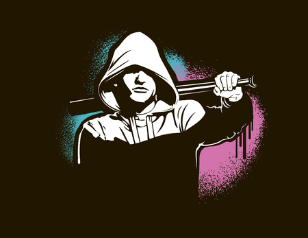 Bandit and hooligan - criminal nightlife. Vector illustration isolated on white