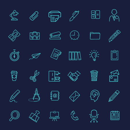 adress book: vector line web icon set - Office Illustration