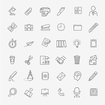 vector line web icon set - Office Illustration