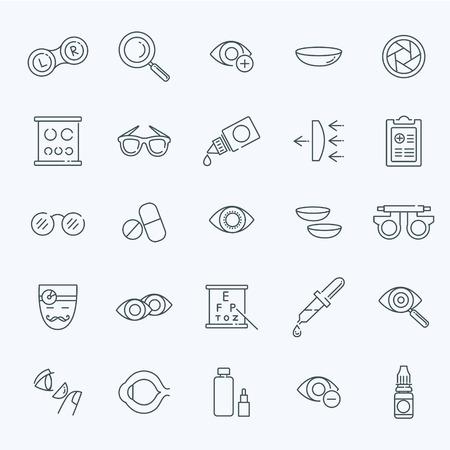 oculist: optometría visión iconos contorno ojos de corrección de la salud oculista establece la ilustración del vector aislado Vectores