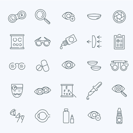 Oculist optometry vision correction eyes health outline icons set isolated vector illustration Illustration