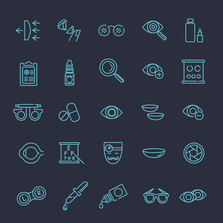 farsighted: optometry vision correction eyes health line icons set Illustration
