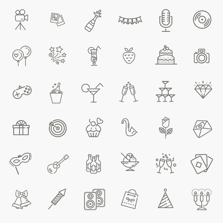 firecrackers: vector web icon set - Party, Birthday, Holidays Illustration