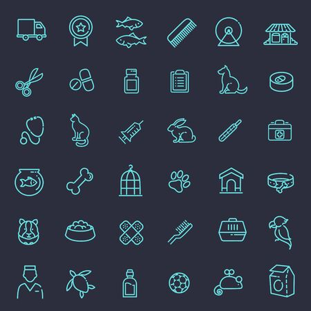 pets: Outline web vector icon set - pet, vet, pet shop, types of pets