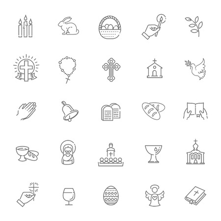 Set of the Easter related icons
