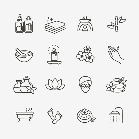 vector lijn web icon set - Thermen en Beauty Stock Illustratie