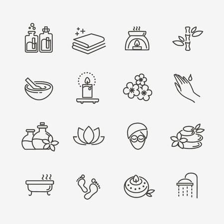 wektor Linia zestaw ikon Web - Spa i Urody Ilustracje wektorowe