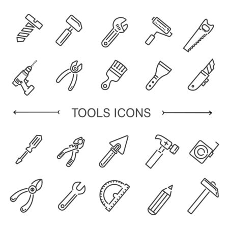 hand trowel: Construction tool vector icon collection