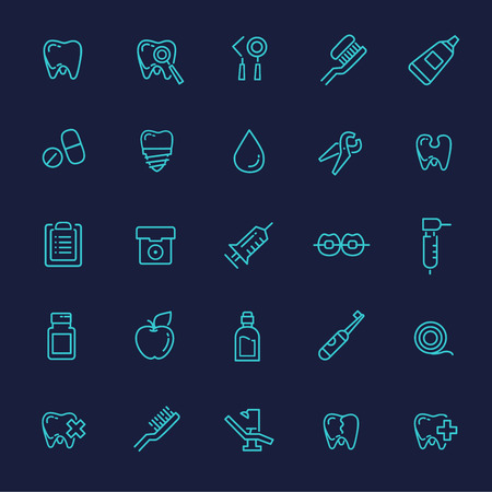 Set of web line icons - teeth, dentistry, medicine, health