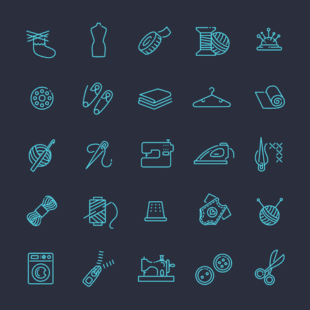 Vector sewing equipment and needlework icons line set Vektorové ilustrace