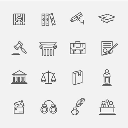 Legal, law and justice vector outline icon set